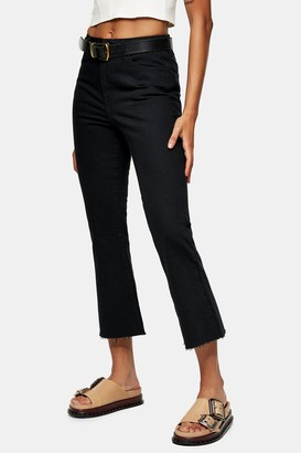 Topshop Womens Clean Black Dree Cropped Jeans - Washed Black