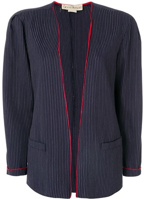 Versace Pre-Owned Striped Open Front Jacket