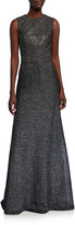 St. John Sleeveless Bejeweled Silver Netting Gown with Sequins