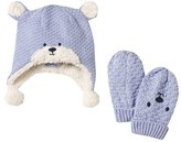 Mayoral Pale Blue Bear Trapper Hat and Mit Set