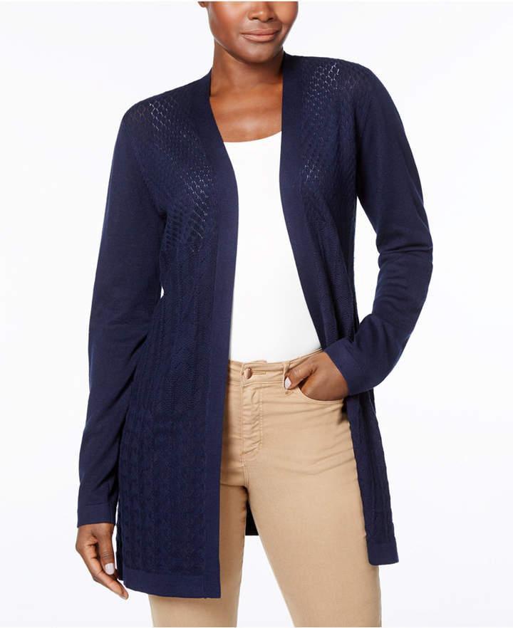 Karen Scott Mixed-Knit Cardigan, Created for Macy's