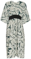 Cédric Charlier Contrast-belt printed dress