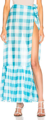 Adriana Degreas Vichy Long Pleated Skirt in Blue & White | FWRD