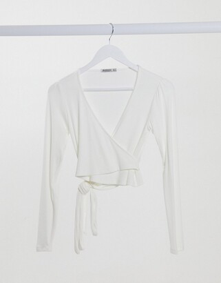 Stradivarius wrap front jersey top in white