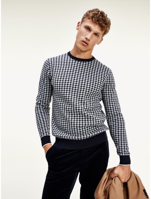 Tommy Hilfiger Organic Cotton And Wool Houndstooth Sweater