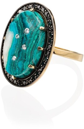 Andrea Fohrman 18K yellow gold chrysocolla and diamond ring