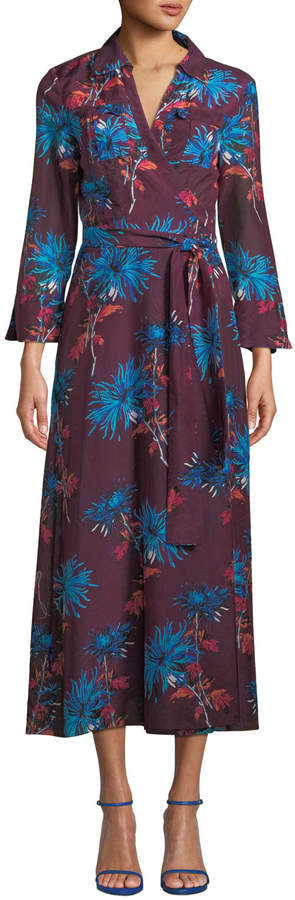 Diane von Furstenberg Floral-Print Voile Maxi Wrap Dress, Blue/Red