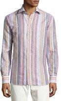 Etro Striped Linen Sport Shirt, Multicolor