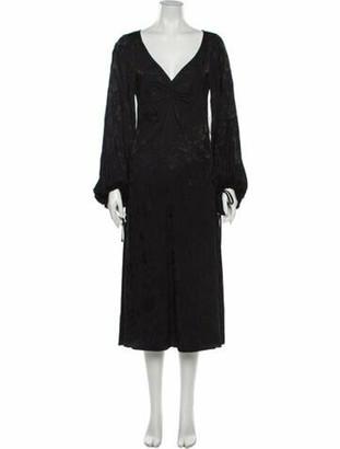STAUD V-Neck Long Dress Black