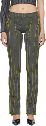 Helenamanzano SSENSE Exclusive Green and Grey 3D Stripe Lounge Pants