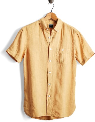 Todd Snyder Short Sleeve Linen Button Down Shirt in Yellow