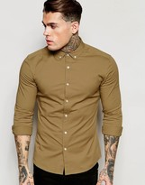 Asos Skinny Shirt in Camel Twill with Long Sleeves
