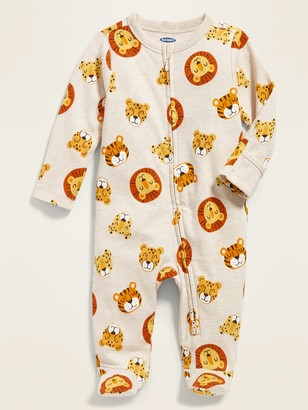 Old Navy Printed Fold-Over Mitten Footed One-Piece for Baby