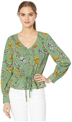 Cupcakes And Cashmere Kalia Autumn Wildflowers Soft Satin Button Front Blouse (Thyme Green) Women's Blouse