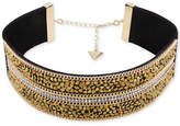 GUESS Gold-Tone Pave & Crystal Rock Faux Suede Choker Necklace