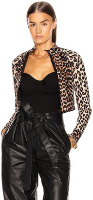 Ganni Recycled Crips Swimwear Top in Leopard | FWRD