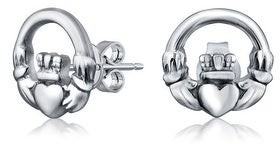 Bling Jewelry BFF Claddagh Celtic Love Round Circle Stud Earrings Sterling Silver
