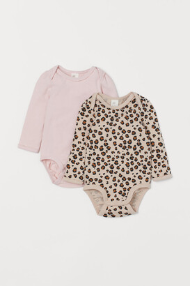 H&M 2-pack Puff-sleeved Bodysuits - Beige