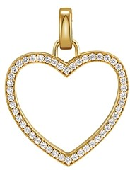 Michael Kors Oversized Pave Heart Charm in 14K Gold-Plated Sterling Silver