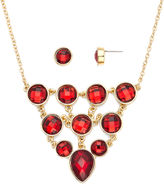 Liz Claiborne Red Crystal Bib Necklace and Stud Earring Set