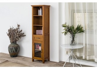 Elegant Home Fashions Logan Weatherd Oak Linen Cabinet with One Drawer and Three Open Shelves