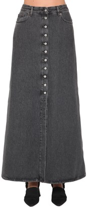 MM6 MAISON MARGIELA Long Button Down Cotton Denim Skirt
