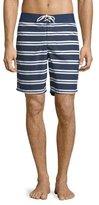 Lacoste Striped Nylon Board Shorts, Navy Blue/White