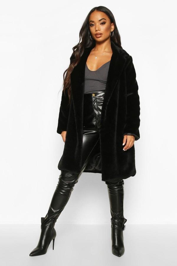 boohoo Petite Luxe Faux Fur Coat
