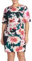Eliza J Plus Size Women's 'Exploding Floral' Print Pleat Jersey Sheath Dress