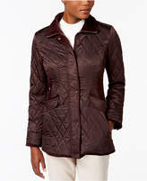 Vince Camuto Velvet-Trim Quilted Coat, Created for Macy's