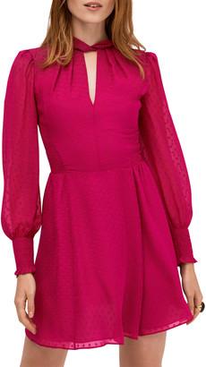 Kate Spade Clip Dot Smocked Bishop-Sleeve Mini Dress