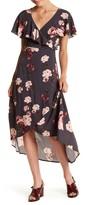 Jolt Floral Cape Faux Wrap Dress