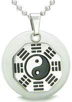 BestAmulets Yin Yang BA GUA Eight Trigrams Amulet Snowflake Quartz Magic Pendant 18 Inch Necklace