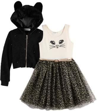 Knitworks Girls 4-6x Skater Dress with Hood Ears Jacket
