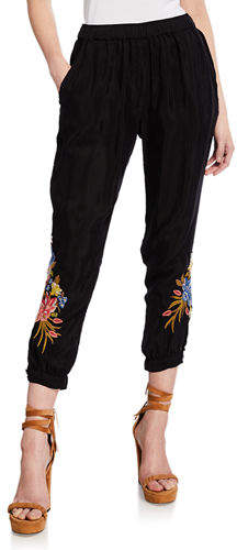 Johnny Was Perrine High-Rise Straight-Leg Crop Pants w/ Embroidery