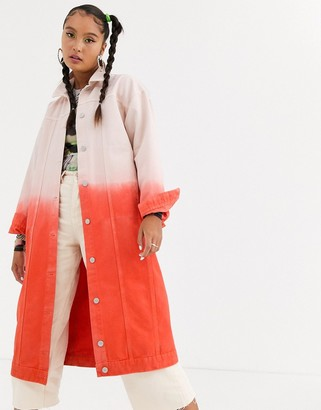 Jaded London oversized coat in ombre denim-Pink
