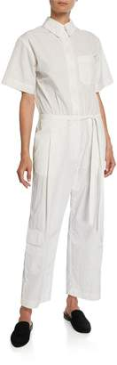 Deveaux New York Button-Front Short-Sleeve Nylon Tissue Jumpsuit