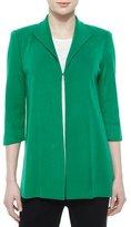 Misook 3/4-Sleeve Wing-Collar Jacket, Green