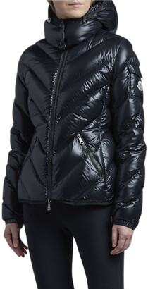 Moncler Brouel Chevron Nylon Laque Down Quilted Jacket with Attached Hood