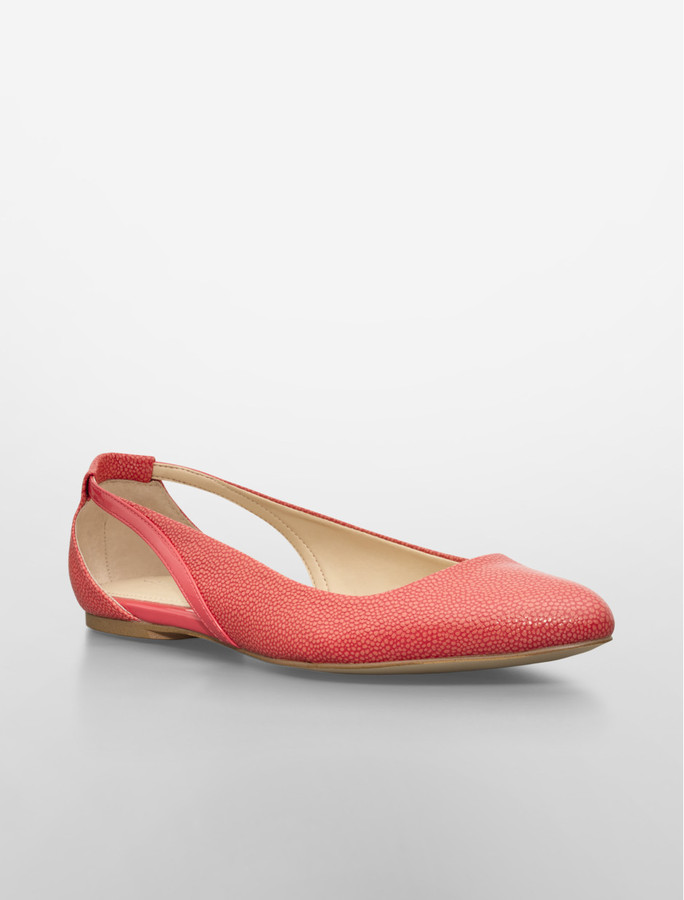 Calvin Klein Ebony Pointed Toe Stingray Ballet Flat