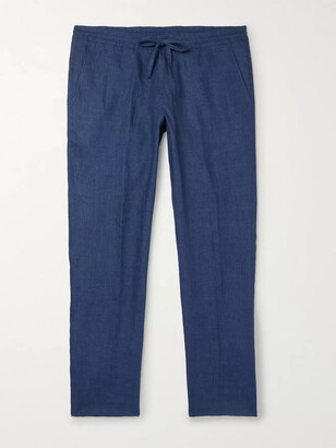 Loro Piana Slim-Fit Linen Drawstring Trousers - Men - Blue