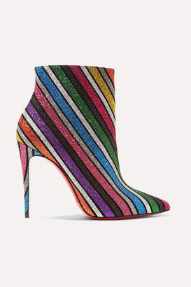 Christian Louboutin So Kate 100 Striped Glittered Leather Ankle Boots - Metallic