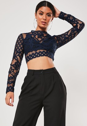 Missguided Navy Lace Long Sleeve Crop Top
