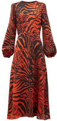 Borgo de Nor Elista Panthera-print Silk-satin Midi Dress - Womens - Black Red