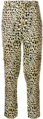 De La Vali Leopard Print Cropped Trousers