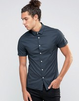 Asos Skinny Shirt In Charcoal With Short Sleeves
