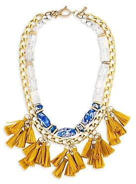 Vila Akola Women's Grace Glass, Gemstone & Yellow Tassel Goldtone Two-Strand Short Necklace