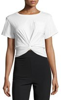 cinq a sept Shiloh Twist-Front Cropped Tee, Ivory