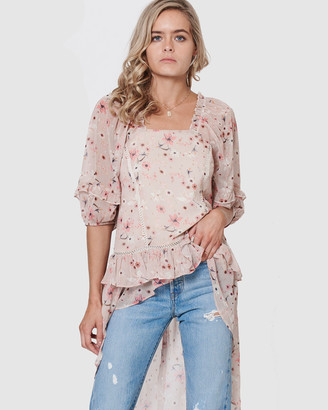 Three of Something Romance Floral Sunset Blouse