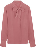 Bottega Veneta Pussy-bow Silk Crepe De Chine Blouse - Antique rose